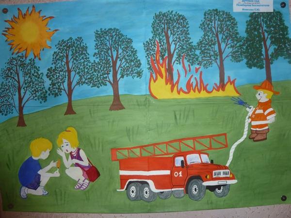 рисунки о пожарной безопасности для детей на конкурс карандашом